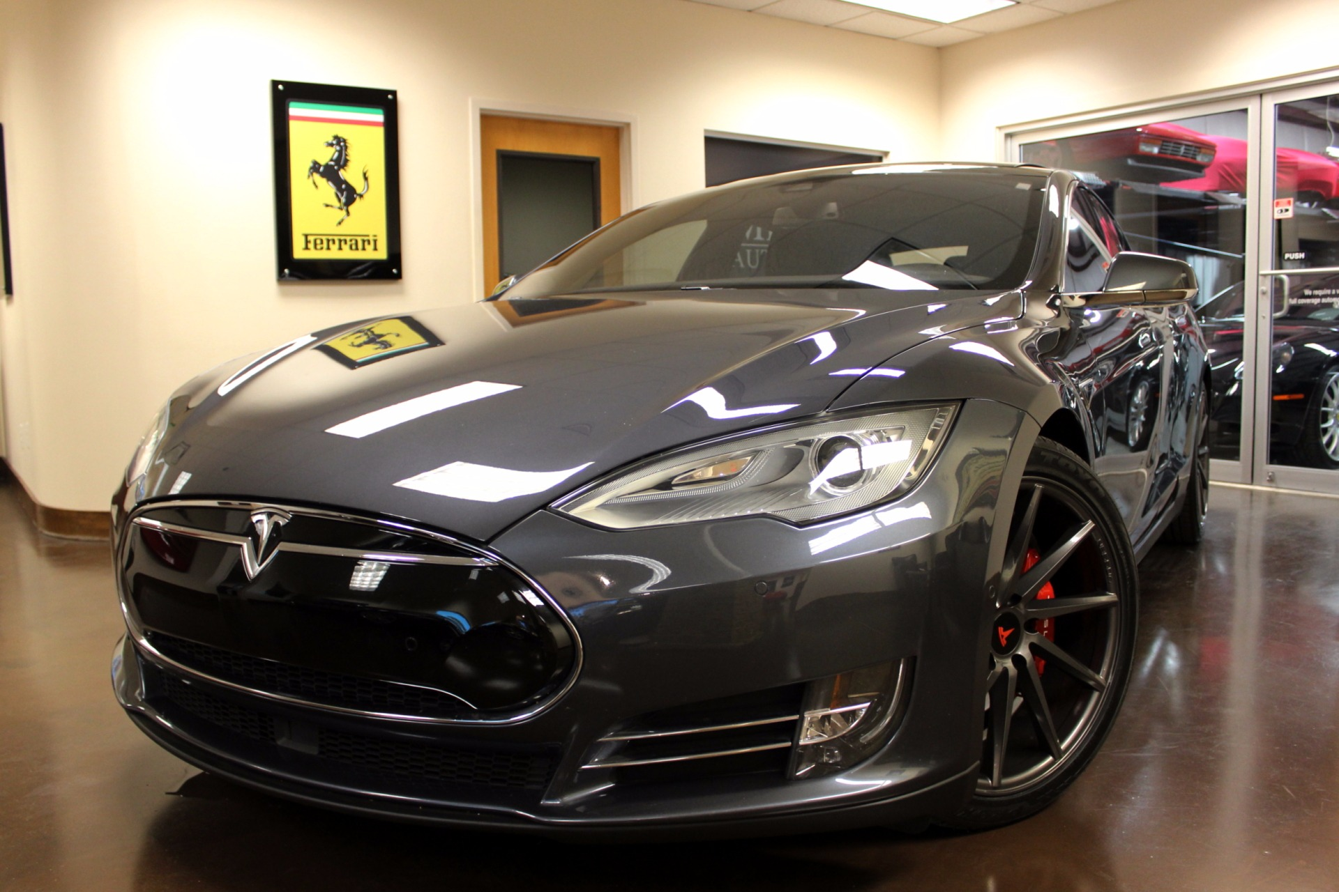 used 2015 tesla model s stock p3883 ultra luxury car from merlin auto group. Black Bedroom Furniture Sets. Home Design Ideas