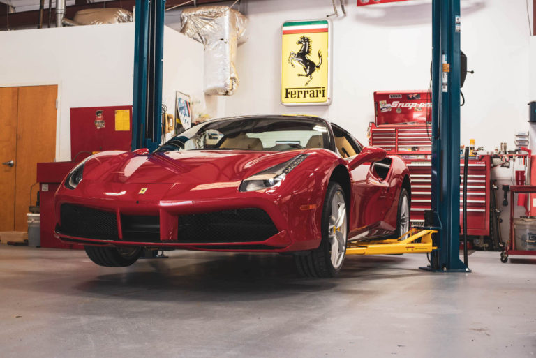 Ferrari 488 in for service maintenance